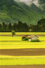 Preview iPhone wallpaper Beautiful scenery, green fields, huts, mountains, village