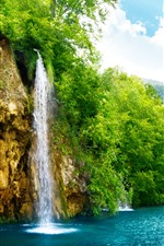Preview iPhone wallpaper Beautiful waterfall, lake, trees, mountain, green, summer