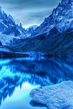 Preview iPhone wallpaper Blue style, mountains, lake, clear water, water reflection, snow, dusk