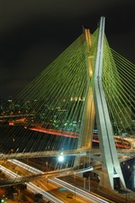 Brazil, night, bridge, city, lights