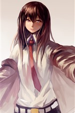 Preview iPhone wallpaper Brown hair anime girl, student, art picture