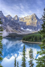 Canada, lake, trees, mountains, nature landscape