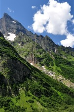 Preview iPhone wallpaper Caucasus, mountains, slope, green, sky, clouds