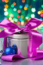 Natal, presente, bolas, luzes coloridas