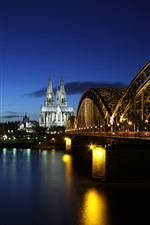 Preview iPhone wallpaper Germany, bridge, lights, river, night