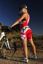 Preview iPhone wallpaper Girl, bike, sport, sunshine