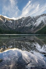 Preview iPhone wallpaper Glacier National Park, lake, water reflection, mountain, trees, USA