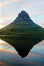 Preview iPhone wallpaper Iceland, mountain, water reflection, lake
