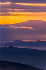 Preview iPhone wallpaper Italy, Tuscany, countryside, mountains, fields, fog, early morning