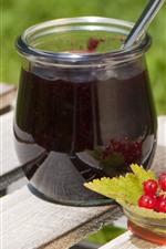 Jam, currants, berries, bench