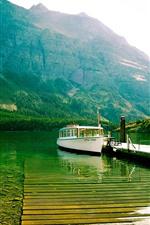 Lake, boat, pier, mountains, water