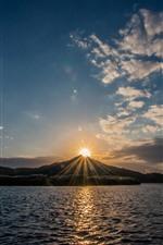 Lake, mountain, sunset, clouds, sun rays