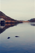 Preview iPhone wallpaper Lake, mountain, water reflection, building