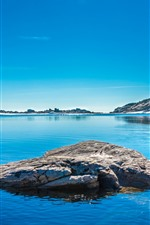 Preview iPhone wallpaper Lake, rocks, snow, island, mountains, blue sky