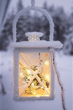 Preview iPhone wallpaper Light, lantern, snow, frost, winter