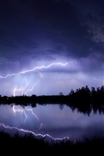 Preview iPhone wallpaper Lightning, lake, storm