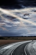 Preview iPhone wallpaper Lightning, road, storm, clouds