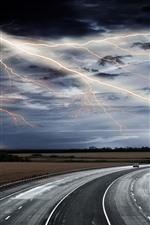 iPhone обои Молния, дорога, гроза, облака