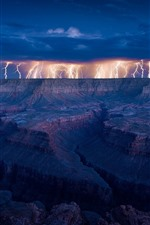 iPhone обои Молния, скалы, облака, гроза