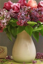 Preview iPhone wallpaper Lilac flowers and tulips, vase