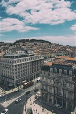 Preview iPhone wallpaper Lisbon, Portugal, top view, city, houses, cars, roads