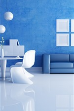 Preview iPhone wallpaper Living room, sofa, lights, blue wall