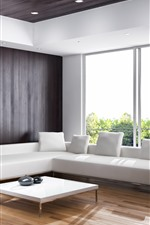 Preview iPhone wallpaper Living room, white sofa, interior, window, sunshine