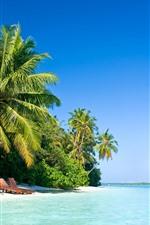 Preview iPhone wallpaper Maldive, palm trees, beach, chair, sea, tropical