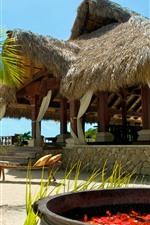Maldives, resort, tropical, beach, sea, building
