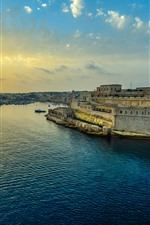 Preview iPhone wallpaper Malta, Valletta, harbor, sunset, clouds, sea, city