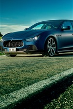 Preview iPhone wallpaper Maserati supercar, fields, road
