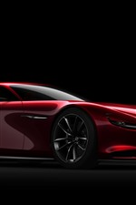 Preview iPhone wallpaper Mazda red supercar side view, black background