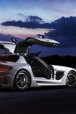 Preview iPhone wallpaper Mercedes-Benz SLS white supercar side view, doors opened