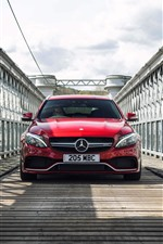Mercedes-Benz red car front view, bridge