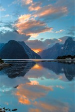 Milford, New Zealand, lake, mountains