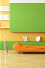 Preview iPhone wallpaper Minimalist room, sofa, lamp, orange and green style, interior design