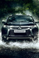 Preview iPhone wallpaper Mitsubishi Pajero SUV car front view, water splash, creek