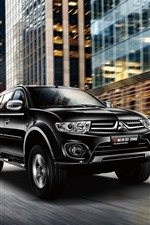 Preview iPhone wallpaper Mitsubishi Pajero black car, speed, city