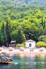 Preview iPhone wallpaper Montenegro, trees, sea, beach, resort