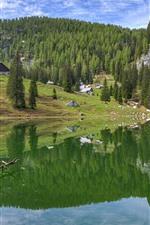 Mountain, lake, water reflection, trees, houses, village