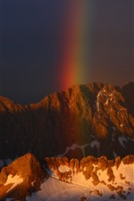 Preview iPhone wallpaper Mountain, snow, rainbow
