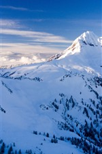 Preview iPhone wallpaper Mountain top, vertex, snow, clouds, winter