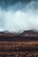 Preview iPhone wallpaper Mountains, grass, fog, clouds, nature landscape