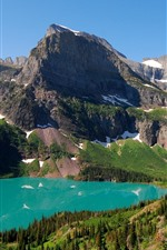 Preview iPhone wallpaper Mountains, lake, snow, trees, nature scenery