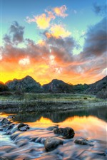 Preview iPhone wallpaper Mountains, river, sunset, clouds, stream, USA