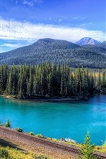Mountains, trees, railroad, lake, blue sky