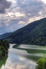 Preview iPhone wallpaper Mountains, trees, river, nature scenery