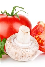 Preview iPhone wallpaper Mushroom and tomato, white background