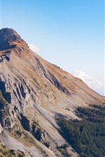 Preview iPhone wallpaper Nature landscape, slope, high, mountain top, trees, sky