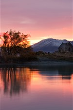 Preview iPhone wallpaper New Zealand, lake, mountains, sunset, house, trees